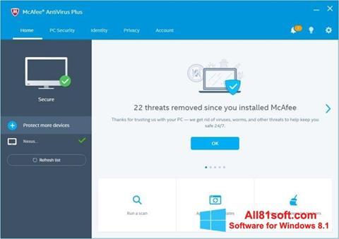 Ekran görüntüsü McAfee AntiVirus Plus Windows 8.1
