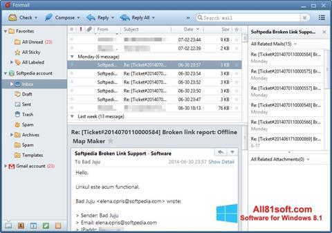 Ekran görüntüsü FoxMail Windows 8.1