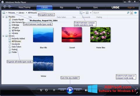 Ekran görüntüsü Media Player Windows 8.1