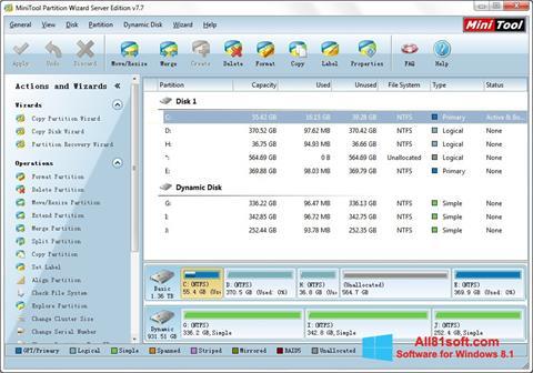 Ekran görüntüsü MiniTool Partition Wizard Windows 8.1