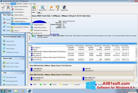 Ekran görüntüsü Paragon Partition Manager Windows 8.1