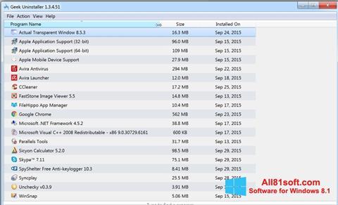 Ekran görüntüsü Geek Uninstaller Windows 8.1