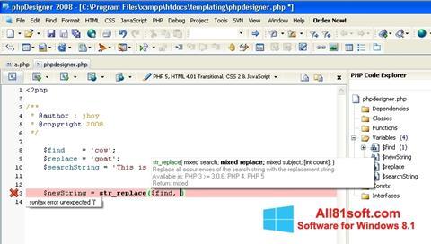 Ekran görüntüsü phpDesigner Windows 8.1