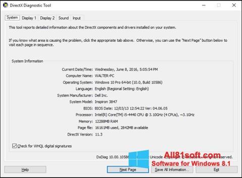 Ekran görüntüsü DirectX Windows 8.1