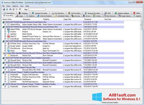 Ekran görüntüsü AutoRuns Windows 8.1