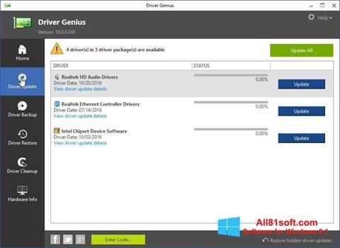 Ekran görüntüsü Driver Genius Windows 8.1