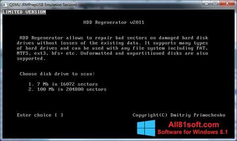 Ekran görüntüsü HDD Regenerator Windows 8.1