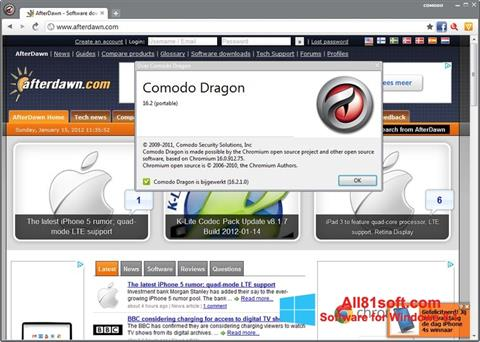 Ekran görüntüsü Comodo Dragon Windows 8.1
