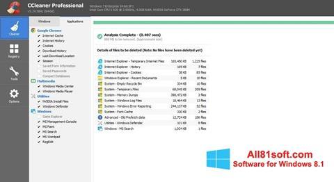 Ekran görüntüsü CCleaner Professional Plus Windows 8.1