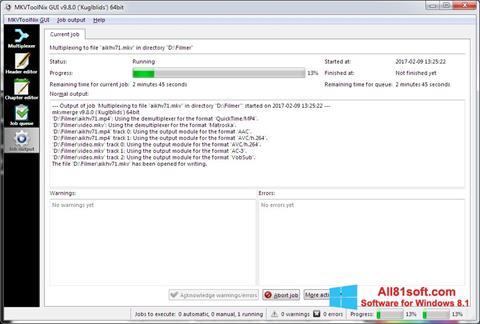 Ekran görüntüsü MKVToolnix Windows 8.1