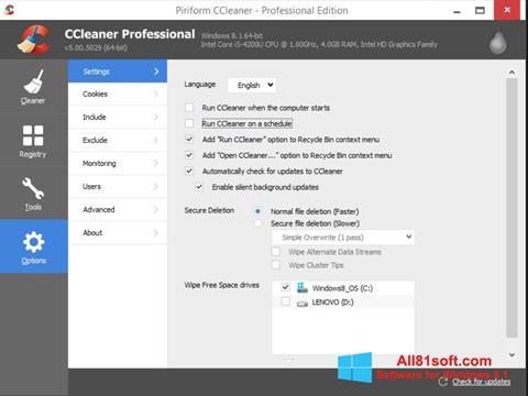 Ekran görüntüsü CCleaner Windows 8.1