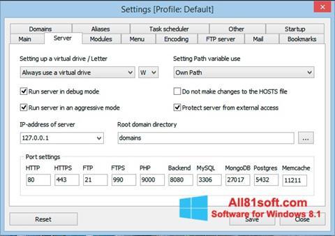Ekran görüntüsü Open Server Windows 8.1