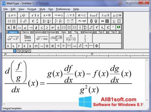 Ekran görüntüsü MathType Windows 8.1