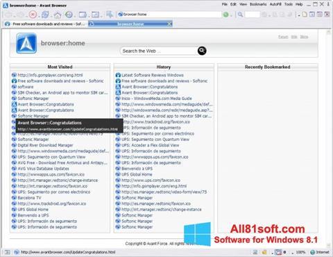 Ekran görüntüsü Avant Browser Windows 8.1