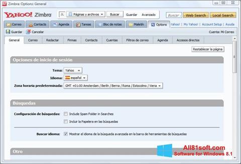 Ekran görüntüsü Zimbra Desktop Windows 8.1