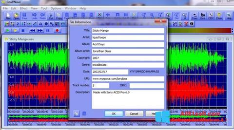 Ekran görüntüsü GoldWave Windows 8.1